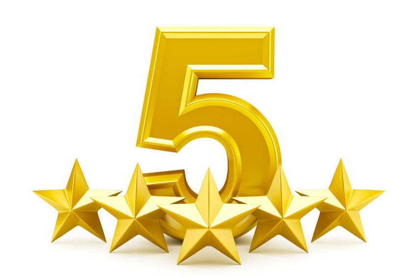 46575080 - five star rating - shiny golden stars